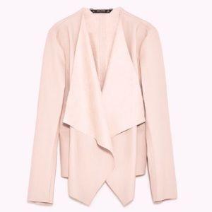 Zara Blush Pink Vegan Leather Waterfall Jacket M